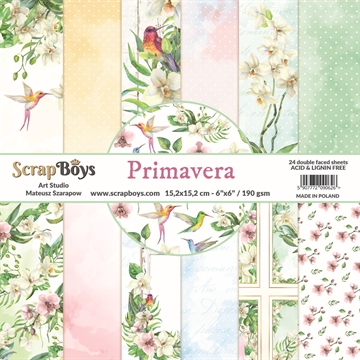 "Happymade - ScrapBoys - Design papers - Primavera - 6x6"" (blok m/24 ark + 2 bonus ark)"