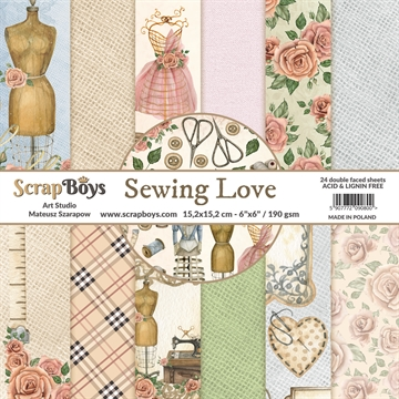 "Happymade - ScrapBoys - Design papers - Sewing Love - 6x6"" (blok m/24 ark + 2 bonus ark)"