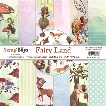 "Happymade - ScrapBoys - Design papers - Fairy Land - 6x6"" (blok m/24 ark + 2 bonus ark)"