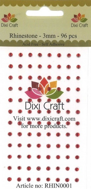 Dixi Craft - Rhinsten - 3mm - Julerød