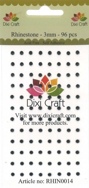 Dixi Craft - Rhinsten - 3mm - Sort (96 stk)