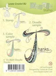 Leane Creatief clear stamp - Doodle Thanks