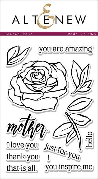 Altenew clear stamp set - Penned rose