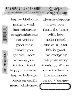 Tim Holtz Cling Rubber Stamp Set - Simple sayings