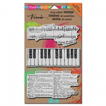 Stampendous - Cling Rubber Stamp Set - Musical (m/gratis stencil)