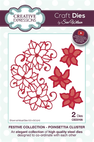 Creative Expressions - by Sue Wilson - Festive collection - Poinsetta Cluster (CED3105)
