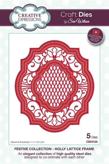 Creative Expressions - by Sue Wilson - Festive collection - Holly Lattice frame (CED3125)
