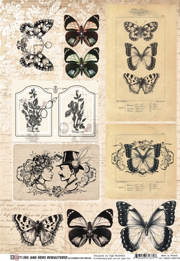 Happymade - 13arts - Design Paper elements - His and Hers REMASTERED - Butterflies - A4