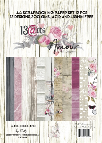 Happymade - 13arts - Design Papers - Amour - A4 (pakn. m/12 ark)