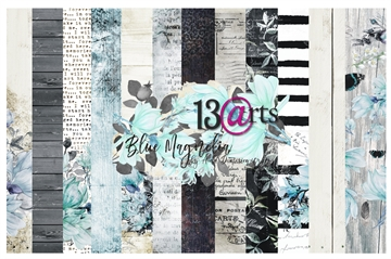 "Happymade - 13arts - Design Papers - Blue Magnolia - 12x12"" (pakn. m/6ark)"