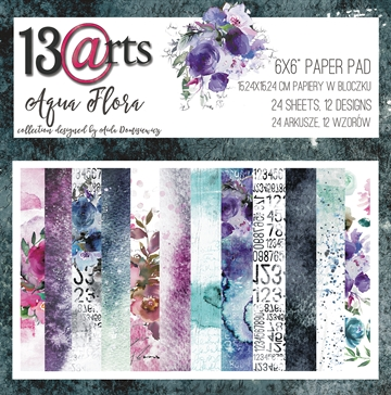 "Happymade - 13arts - Design Papers - Aqua Flora - 6x6"" (pakn. m/24 ark)"