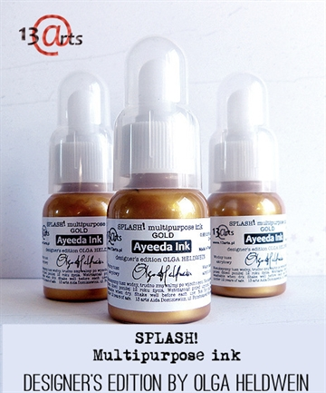 Happymade - 13arts - Splash! Multipurpose Ink - Gold (25ml).