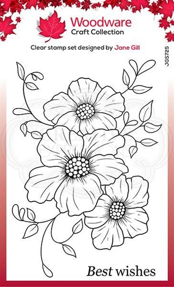 Happymade - Woodware - Clear stamp - Petal Trio - JGS725