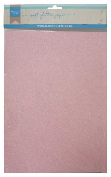 Happymade - Marianne Design paper - Soft Glitter - Light Pink (5 ark A4) - CA3148