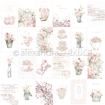 "Happymade - Alexandra Renke - 12x12"" - Card Sheet - Rose Flower Arrangement - 10.1303X"