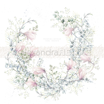 "Happymade - Alexandra Renke - 12x12"" - Card Sheet - Wreath With Magnolia - 10.1210"