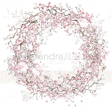 "Happymade - Alexandra Renke - 12x12"" - Card Sheet - Cherry Blossom Wreath With Birds - 10.1213"