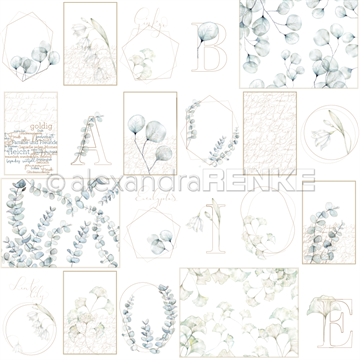 "Alexandra Renke - 12x12"" - Card Sheet - Blue Flower Geometry - 10.1320"