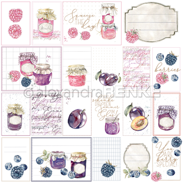 "Happymade - Alexandra Renke - 12x12"" - Card Sheet Rose/Purple Jam - 10.1347"