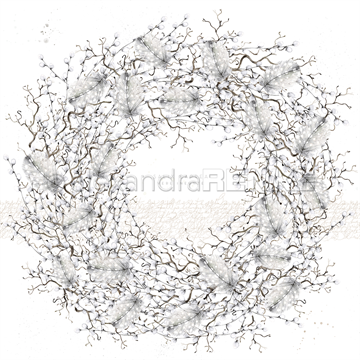 "Happymade - Alexandra Renke - 12x12"" - Willow Catkin Wreath - 10.1216"