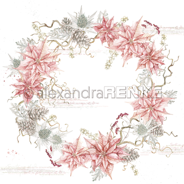 "Happymade - Alexandra Renke - 12x12"" - Rose Poinsetta Wreath - 10.1083"