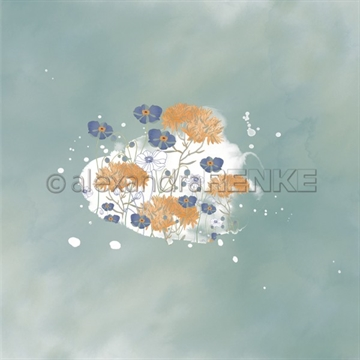 "Happymade - Alexandra Renke - 12x12"" - Memories - Blue Poppy Blot on Smoky Green - 10.1959"