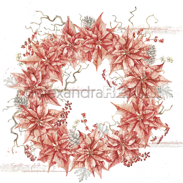 "Happymade - Alexandra Renke - 12x12"" - Red Poinsetta Wreath - 10.1084"