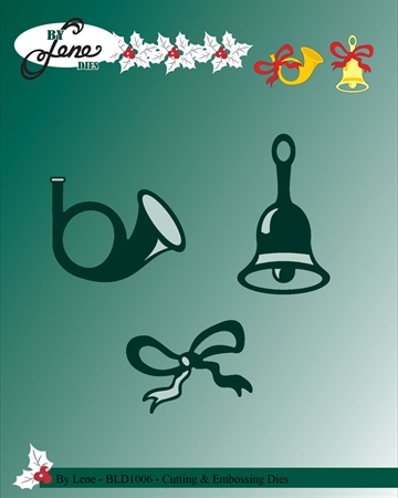 Happymade - By Lene Design - Die - Bell & horn w/bow - BLD1006