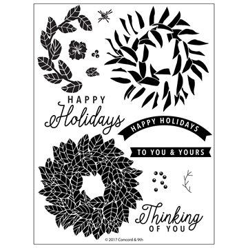 Happymade - Concord & 9th clear stamp set - Magnolia Wreath