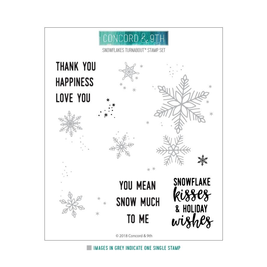Happymade - Concord & 9th clear stamp - Snowflakes Turnabout
