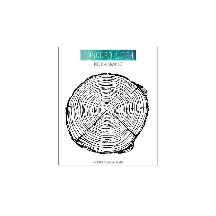 Happymade - Concord & 9th clear stamp - Tree Ring background