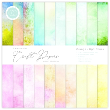 "Happymade - Craft Consortium - Paper Pad - 12x12"" - Grunge - Light Tones (CCEPAD008)"