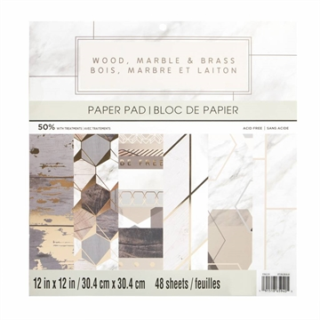 "Happymade - Craft Smith - Paper Pad - 12x12"" - Wood, Marble & Brass (MPP0368)"