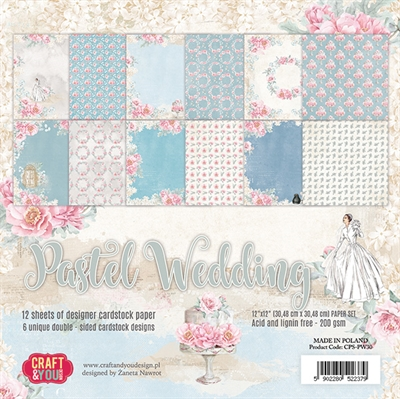 "Happymade - Craft & You Design - Paper Pad -12x12"" - Pastel Wedding (CPS-PW30)"