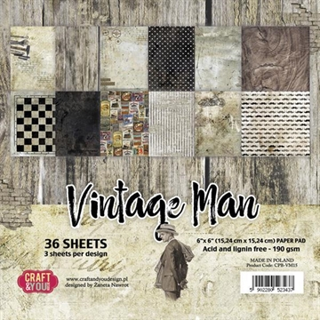 "Happymade - Craft & You Design - Paper Pad -6x6"" - Vintage Man (CPB-VM15)"
