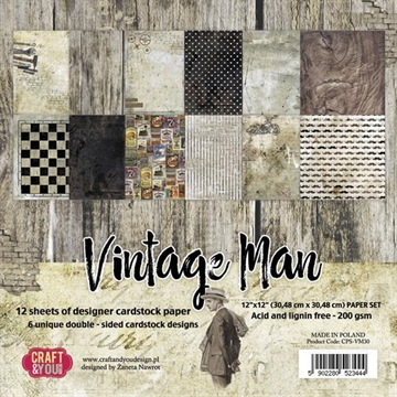 "Happymade - Craft & You Design - Paper Pad -12x12"" - Vintage Man (CPS-VM30)"