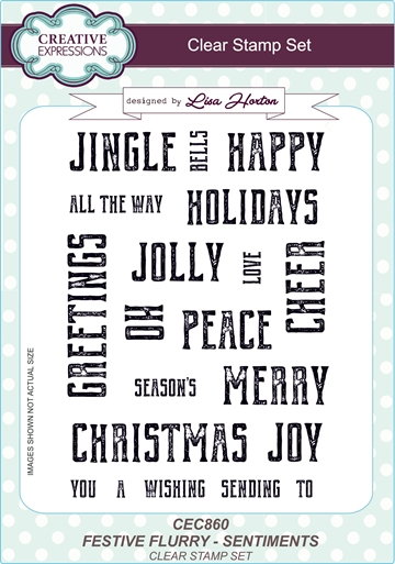 Creative Expressions - Clear stamp set - Festive flurry - Sentiments - CEC860