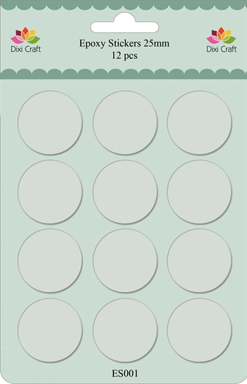 Happymade - Dixi Craft - Epoxy stickers - 25mm - Klar - 12stk. (ES001)