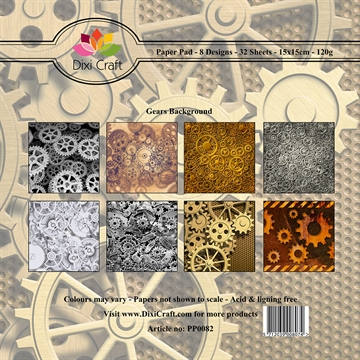 Dixi Craft - Paper pad - Gears background (Farve)