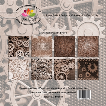 Dixi Craft - Paper pad - Gears background (Brun)