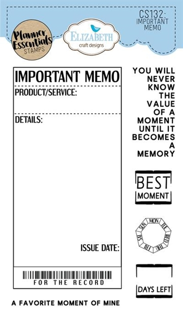 Happymade - Elizabeth Craft Designs - Clear stamp - Planner Important Memo (CS132)