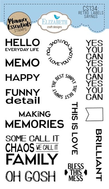 Happymade - Elizabeth Craft Designs - Clear stamp - Planner Retro Label Sayings (CS134)
