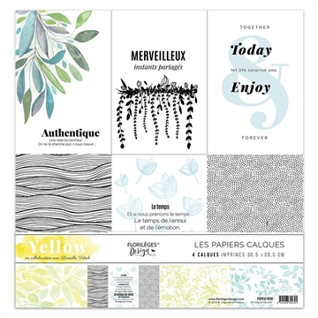 "Happymade - Florilèges Design - 12x12"" - Paper Pack - Yellow (FDPC41930) - Vellum"