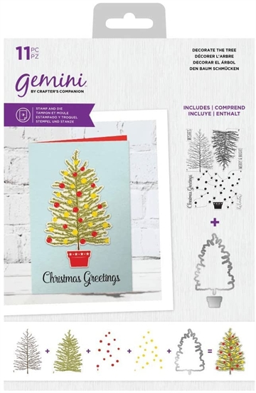 Happymade - Crafter's Companion - Clear Stamp + die - Decorate The Tree (GEM-STD-DECT)