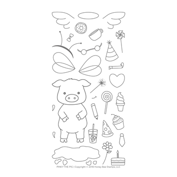 Happymade - Honey Bee Stamps - Stamp - Pinky The Pig