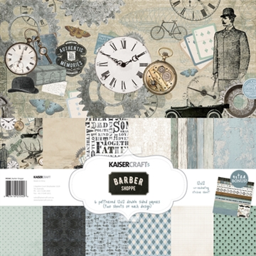 "Happymade - KaiserCraft design paper 12x12"" - Barber Shoppe Collection - Pakn. m/12 ark +  stickers"