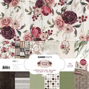 "Happymade - KaiserCraft design paper 12x12"" - Gypsy Rose Collection - Pakn. m/12 ark +  stickers"