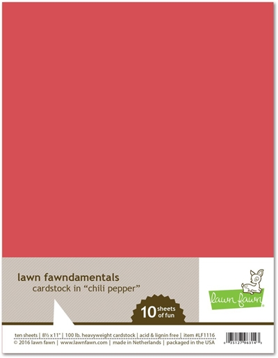 Happymade - Lawn Fawn - Cardstock - Chili Pepper (Pakn. m/10 ark)