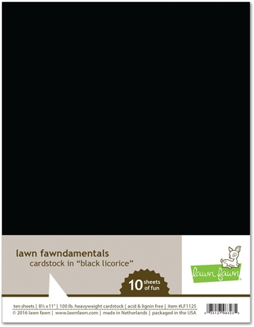 Happymade - Lawn Fawn - Cardstock - Black Licorice (Pakn. m/10 ark)