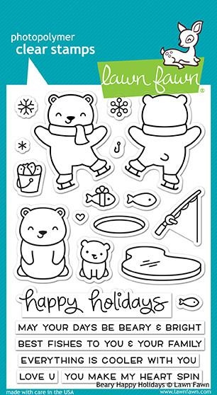 Lawn Fawn clear stamp set - Beary Happy Holidays
